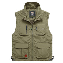Load image into Gallery viewer, Summer Mesh Thin Multi Pocket Vest For Male Big Size Male Casual 4 Colors Sleeveless Jacket With Many Pockets Reporter Waistcoat