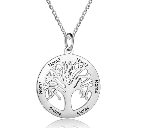 collier arbre de vie prenom or