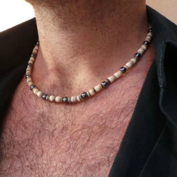 collier perle homme mode