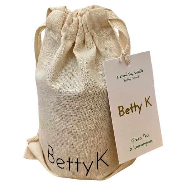 Betty K | Green Tea & Lemongrass Small Natural Soy Candle | Relax
