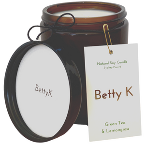 Betty K | Green Tea & Lemongrass Large Natural Soy Candle | Relax