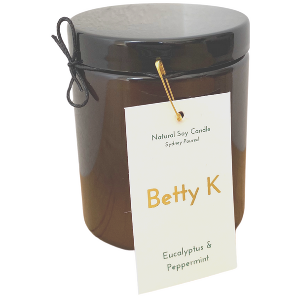 Betty K | Eucalyptus & Peppermint Large Natural Soy Candle | Relax