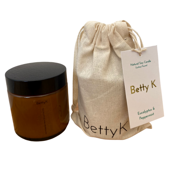 Betty K | Eucalyptus & Peppermint Small Natural Soy Candle | Relax