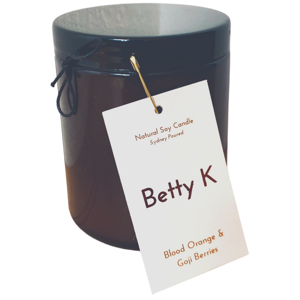 Betty K | Blood Orange & Goji Berries Large Natural Soy Candle | Mood Booster