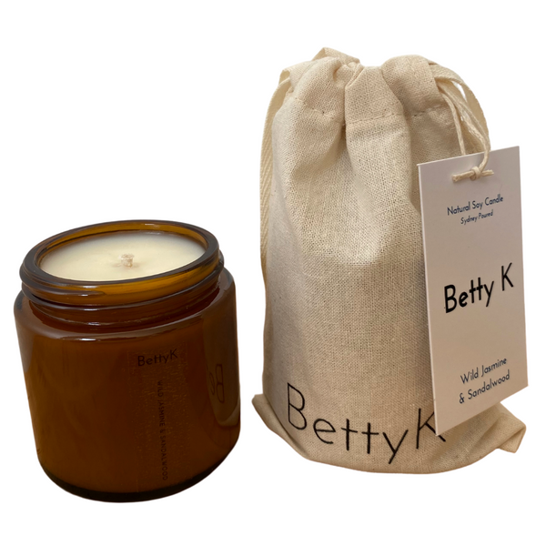 Betty K | Wild Jasmine & Sandalwood Small Natural Soy Candle | Opulence