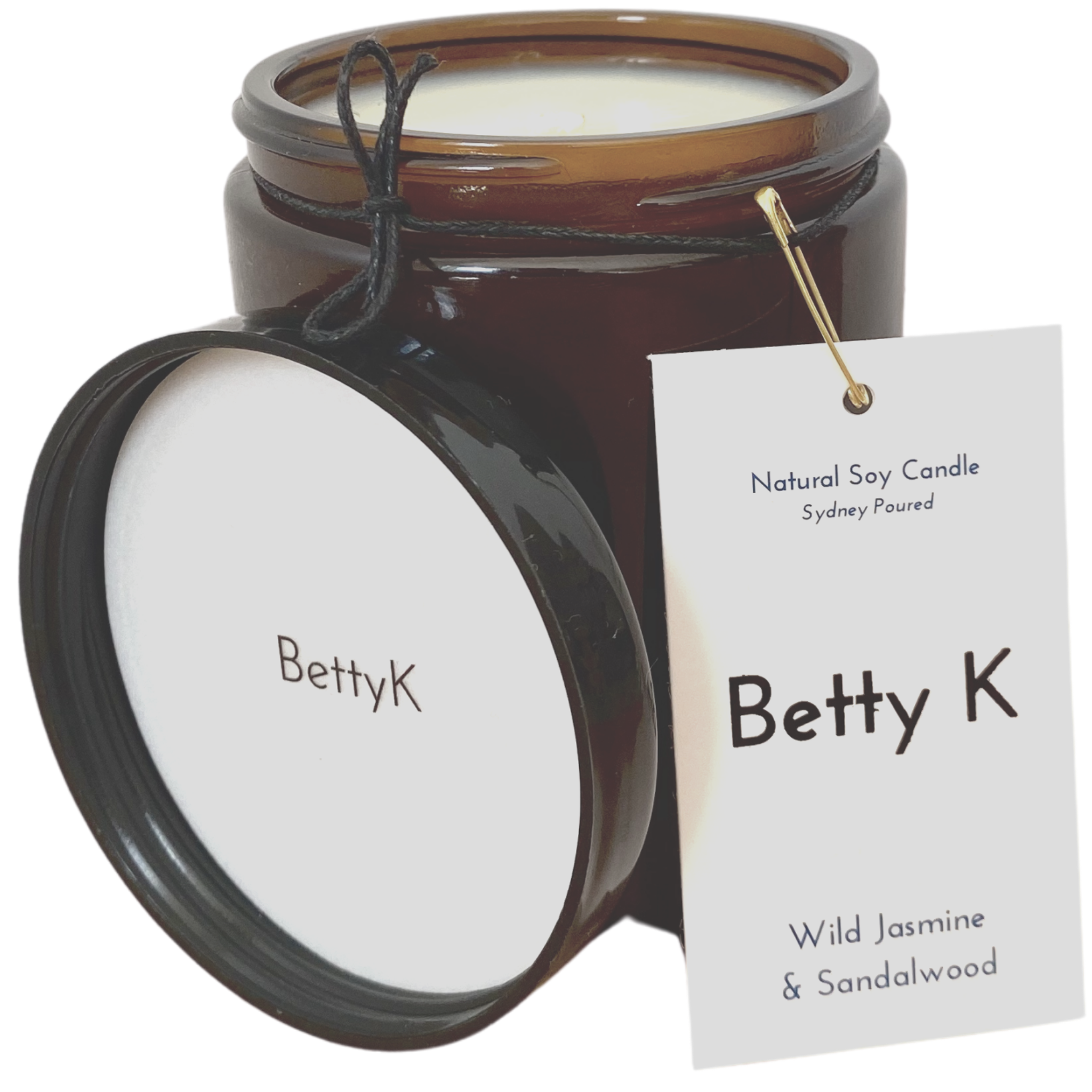 Betty K | Wild Jasmine & Sandalwood Large Natural Soy Candle | Opulence
