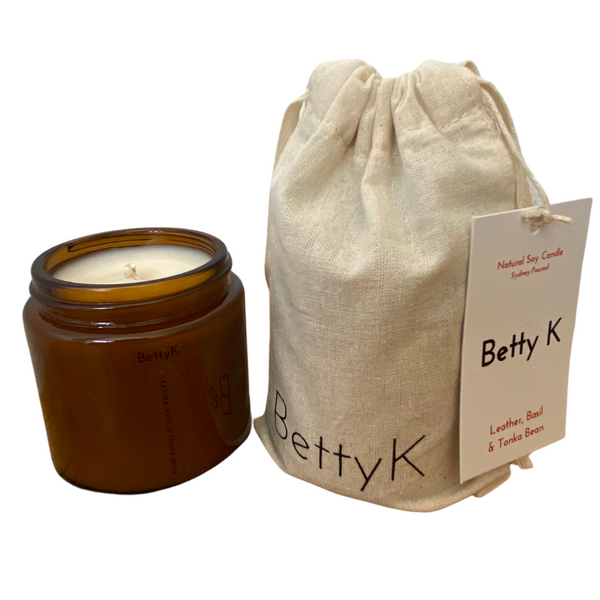 Betty K | Leather, Basil & Tonka Bean Small Natural Soy Candle | Opulence