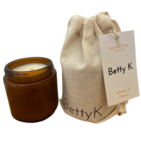 Betty K | Whiskey & Tobacco Small Natural Soy Candle | Opulence