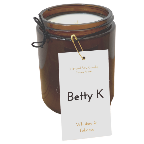 Betty K | Whiskey & Tobacco Large Natural Soy Candle | Opulence