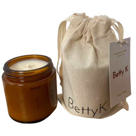 Betty K | Ylang Ylang Small Natural Soy Candle | Mood Booster