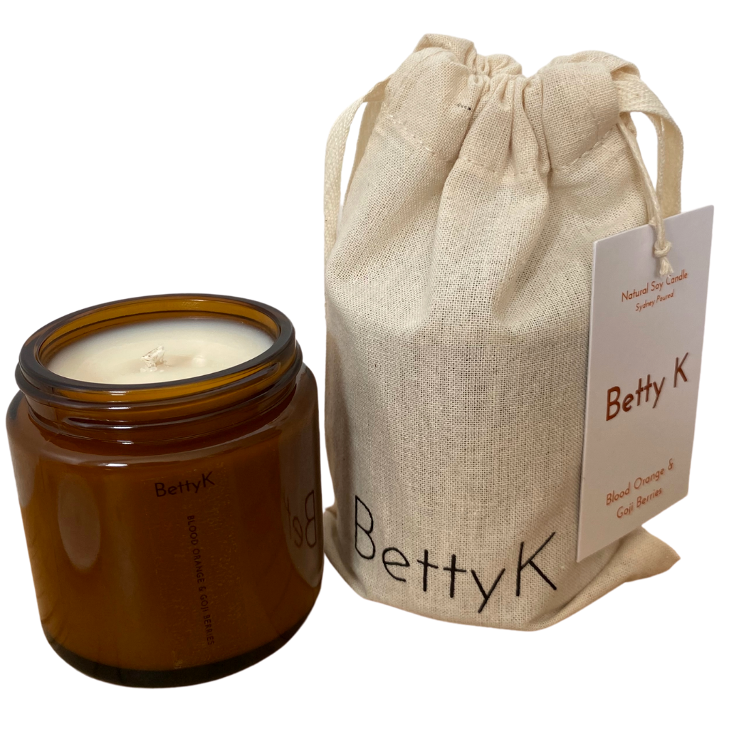 Betty K | Blood Orange & Goji Berries Small Natural Soy Candle | Mood Booster