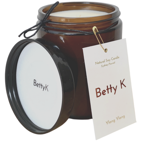 Betty K | Ylang Ylang Large Natural Soy Candle | Mood Booster