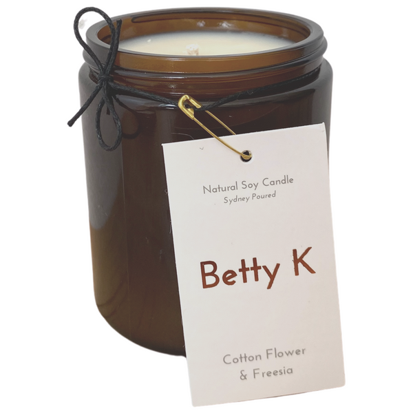 Betty K | Cotton Flower & Freesia Large Natural Soy Candle | Mood Booster