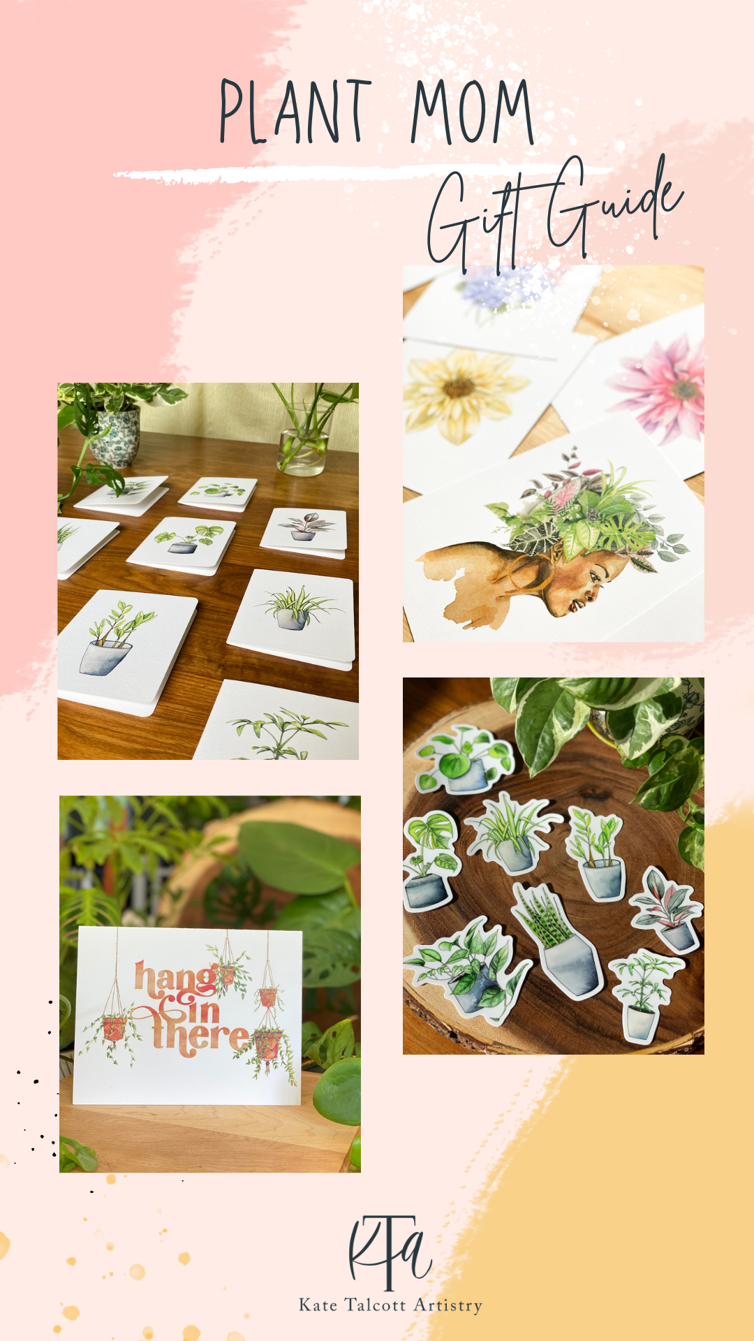 Plant lover cards, stickers, and wall art prints