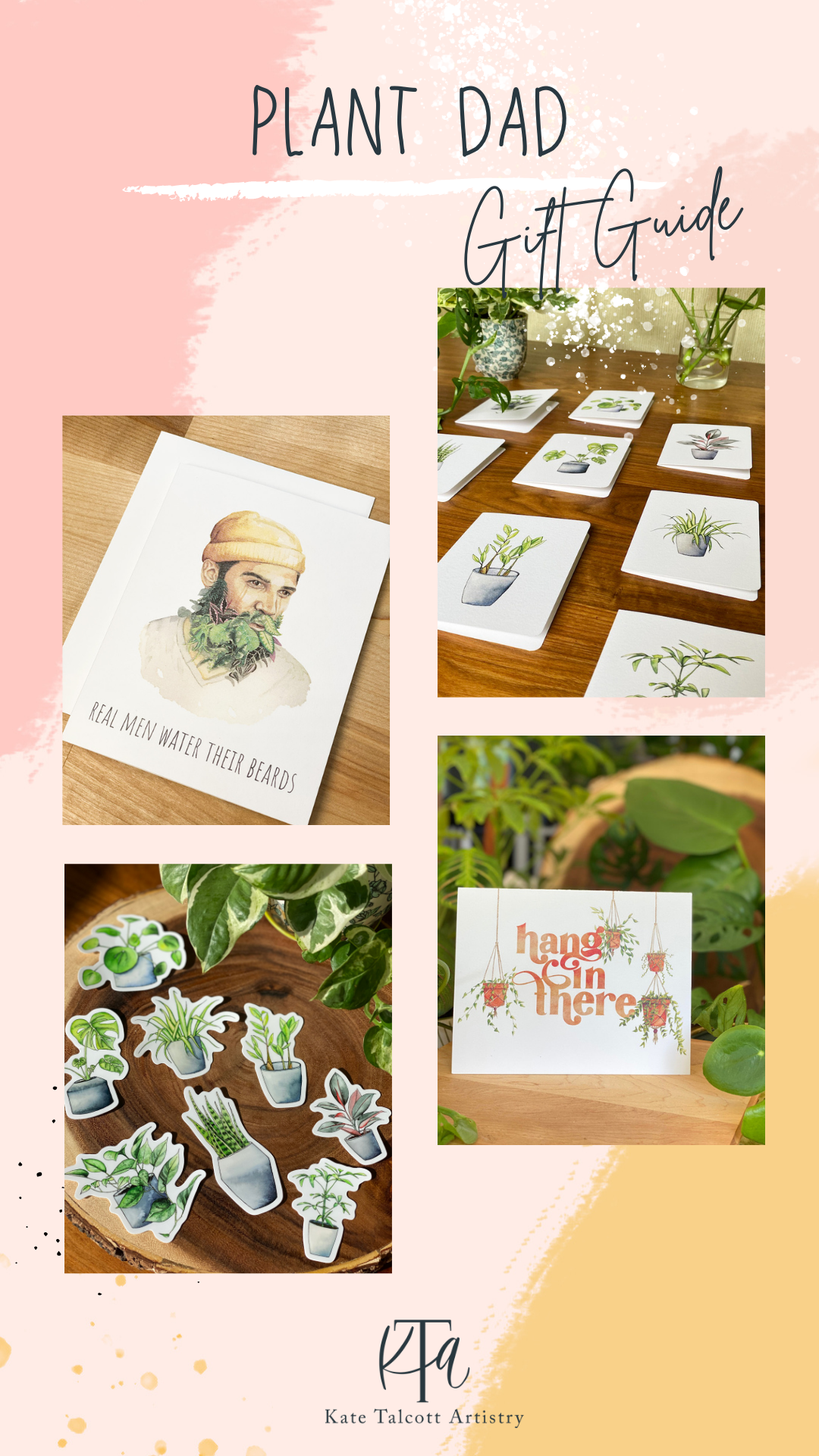 Plant Dad Gift Guide with cards, stickers, and card sets
