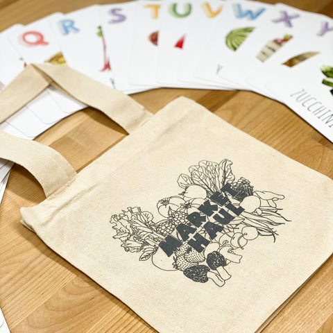 Market Haul Tote and ABC Flashcards