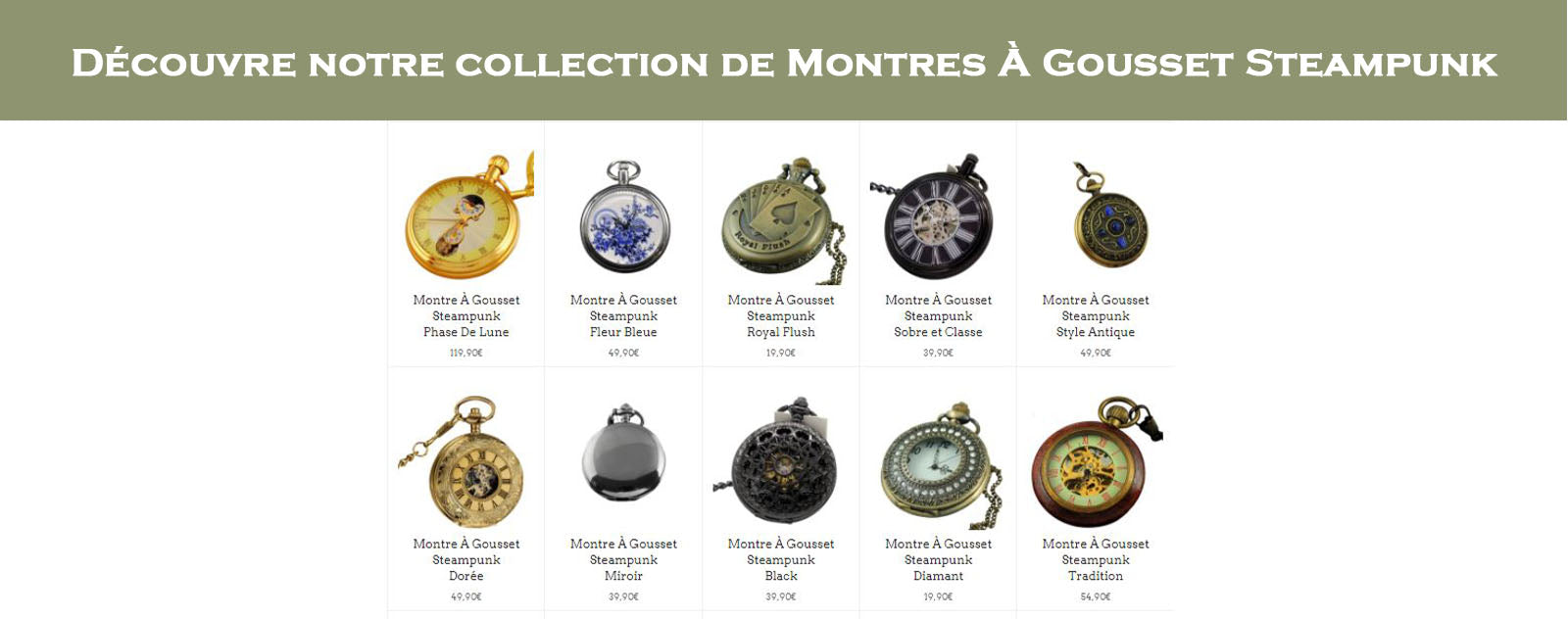 Collection montre à gousset steampunk