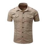 Chemise Steampunk Homme <br> Militaire Beige