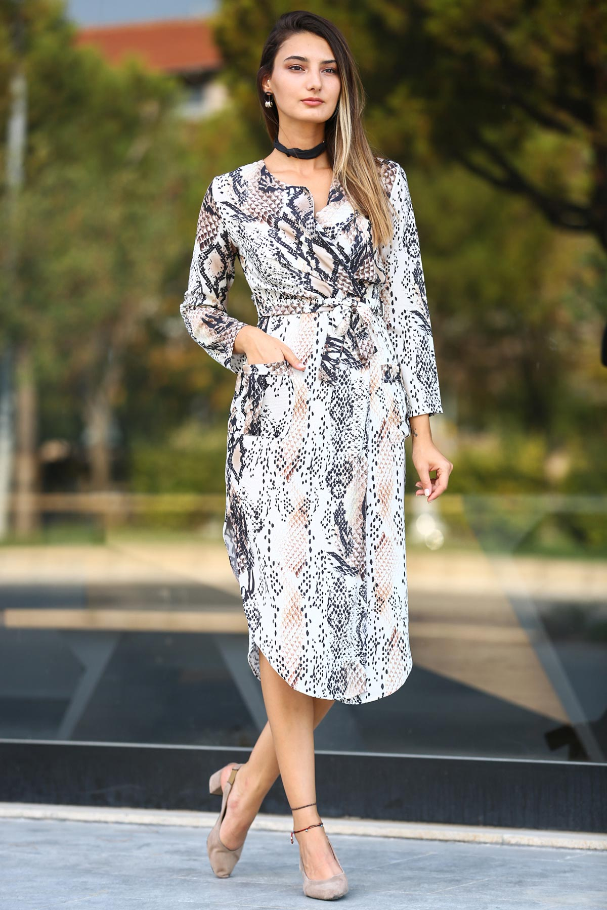 Women's Tie Waist Snake Pattern Midi Dress