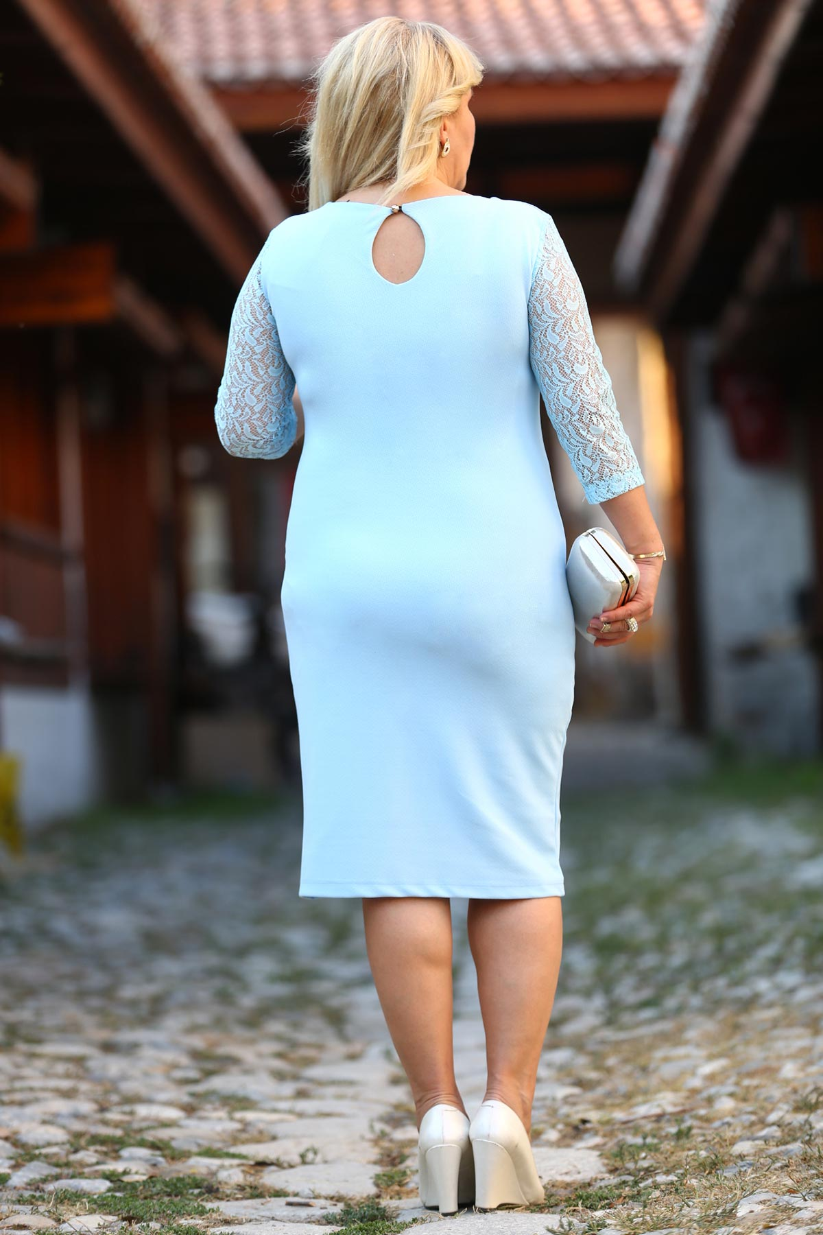 Women's Oversize Lace Detail Blue Dress
