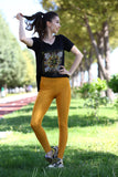 Women's Shiny Mustard Tights