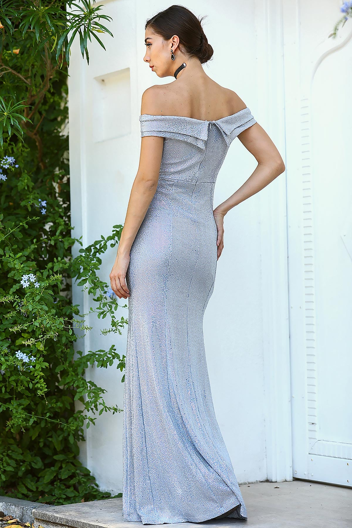 Women's Fish Model Slit Grey Evening Dress