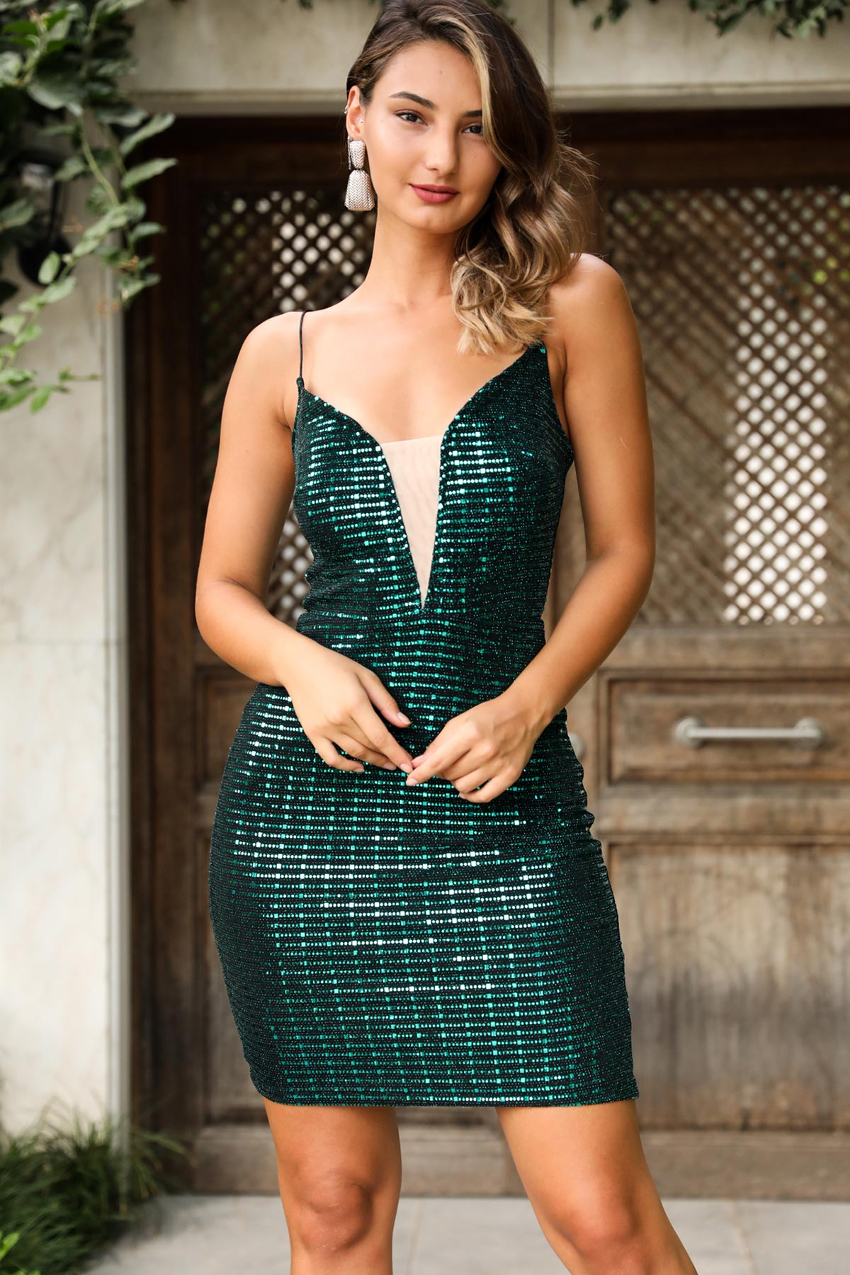 Women's Short Sequin Green Evening Dress