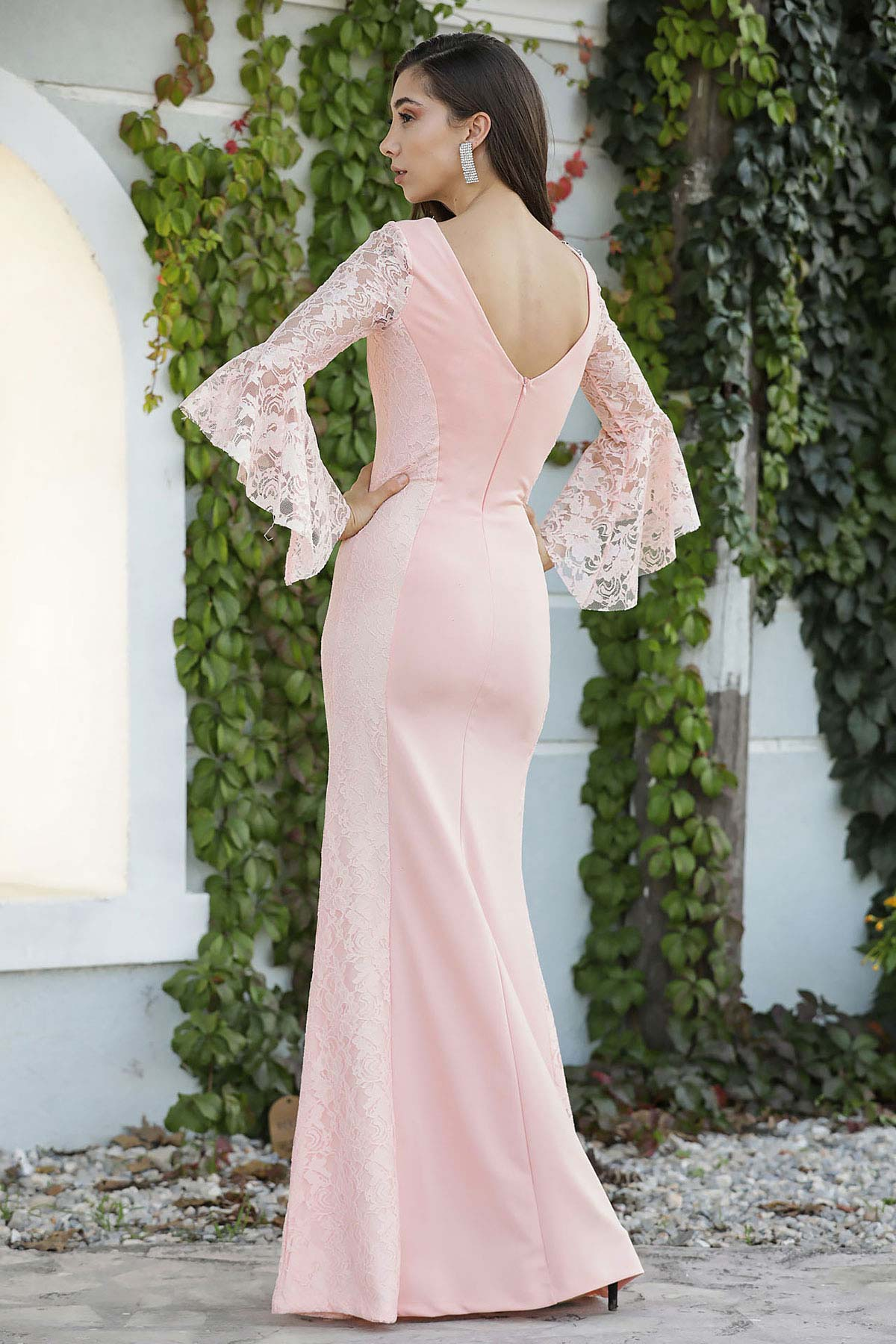 Women's Lace Detail Powder Rose Evening Dress