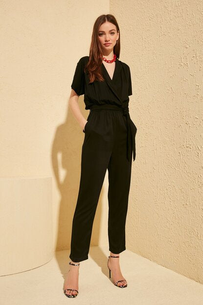 Women's Belted Black Overall