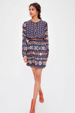 Women's Belted Patterned Short Dress