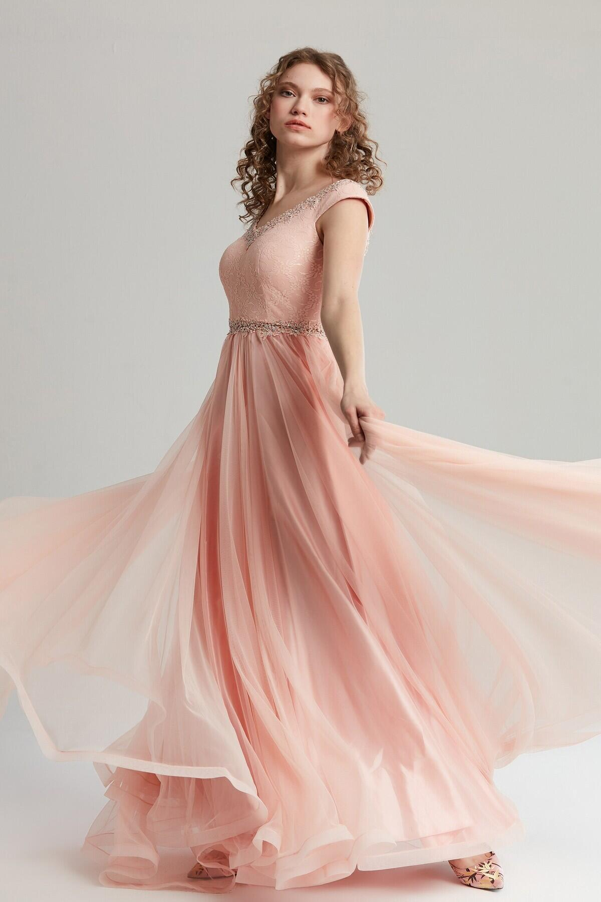Women's V Neck Evening Dress