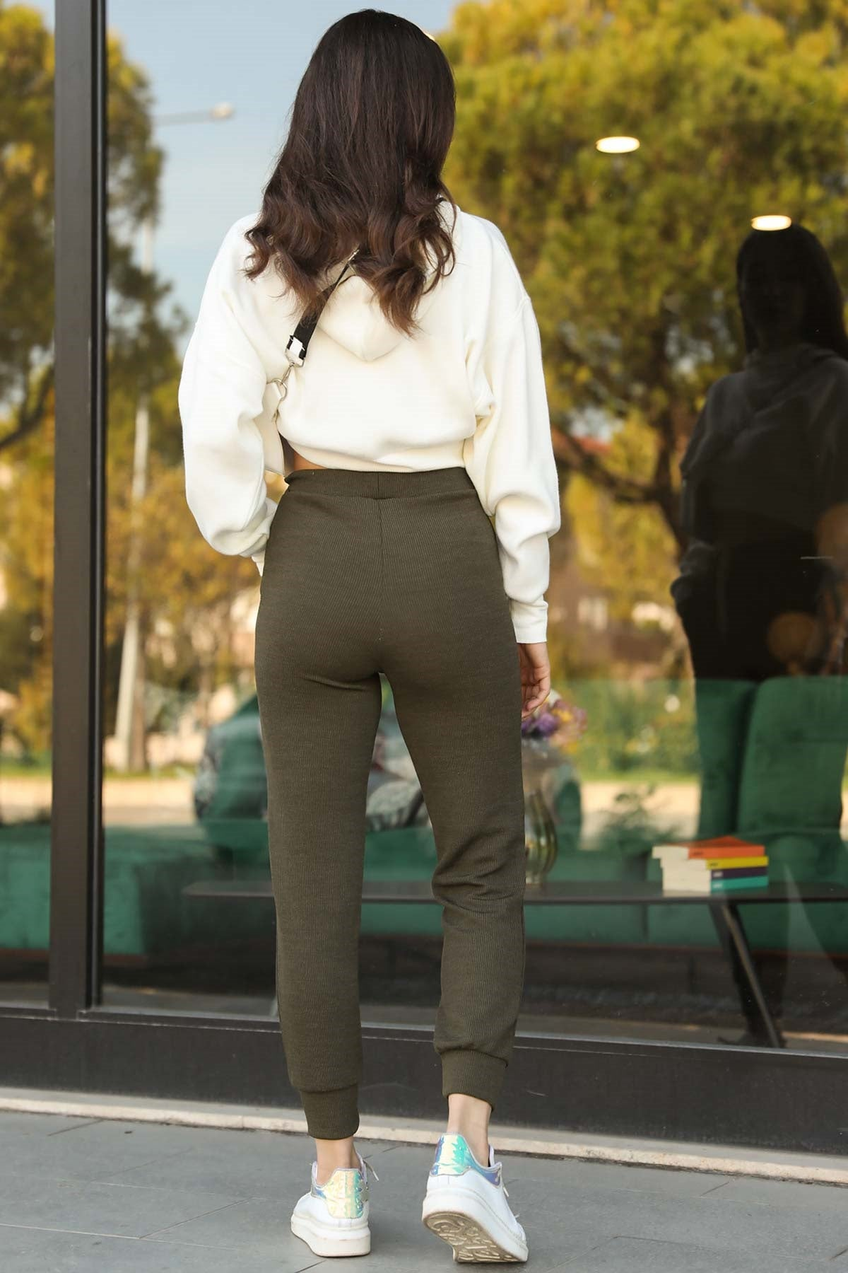 Women's Lace-up Waist Khaki Rib Pants