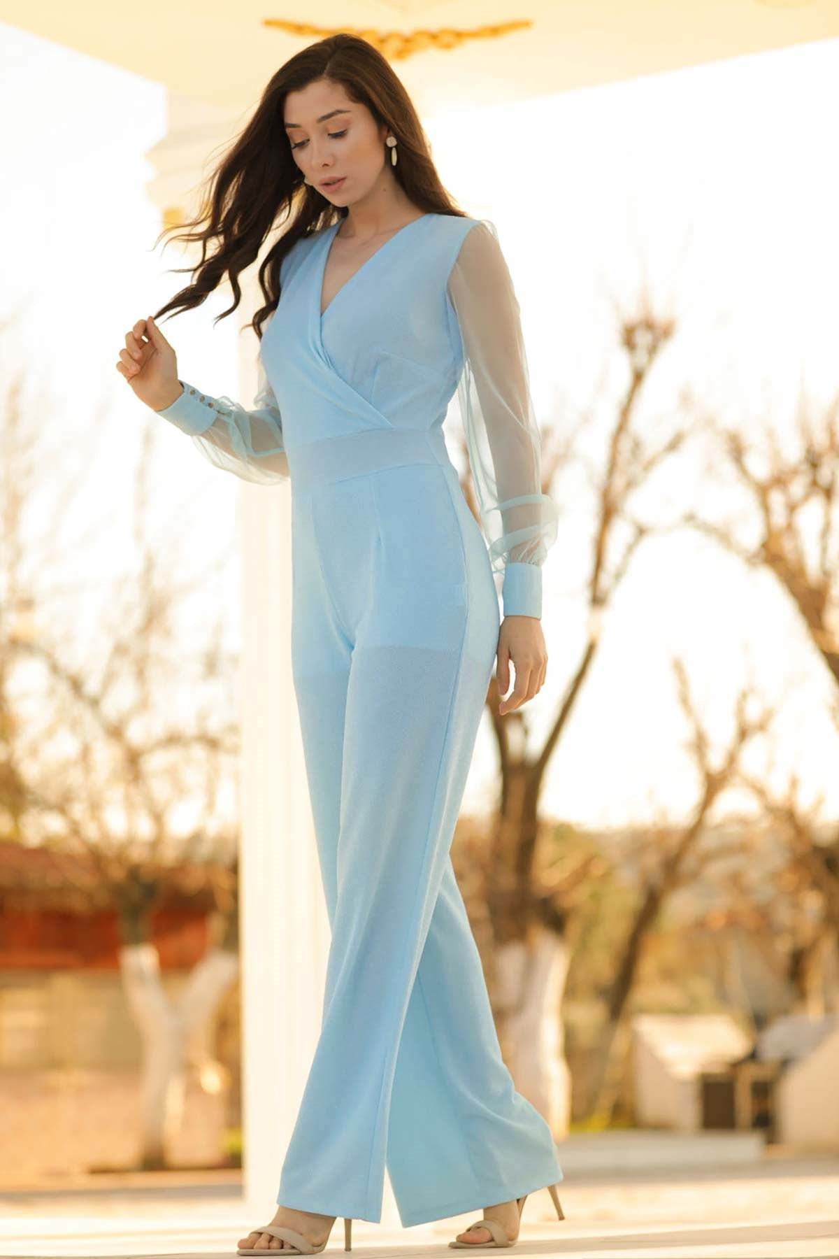 Women's Tulle Sleeves Baby Blue Long Overall