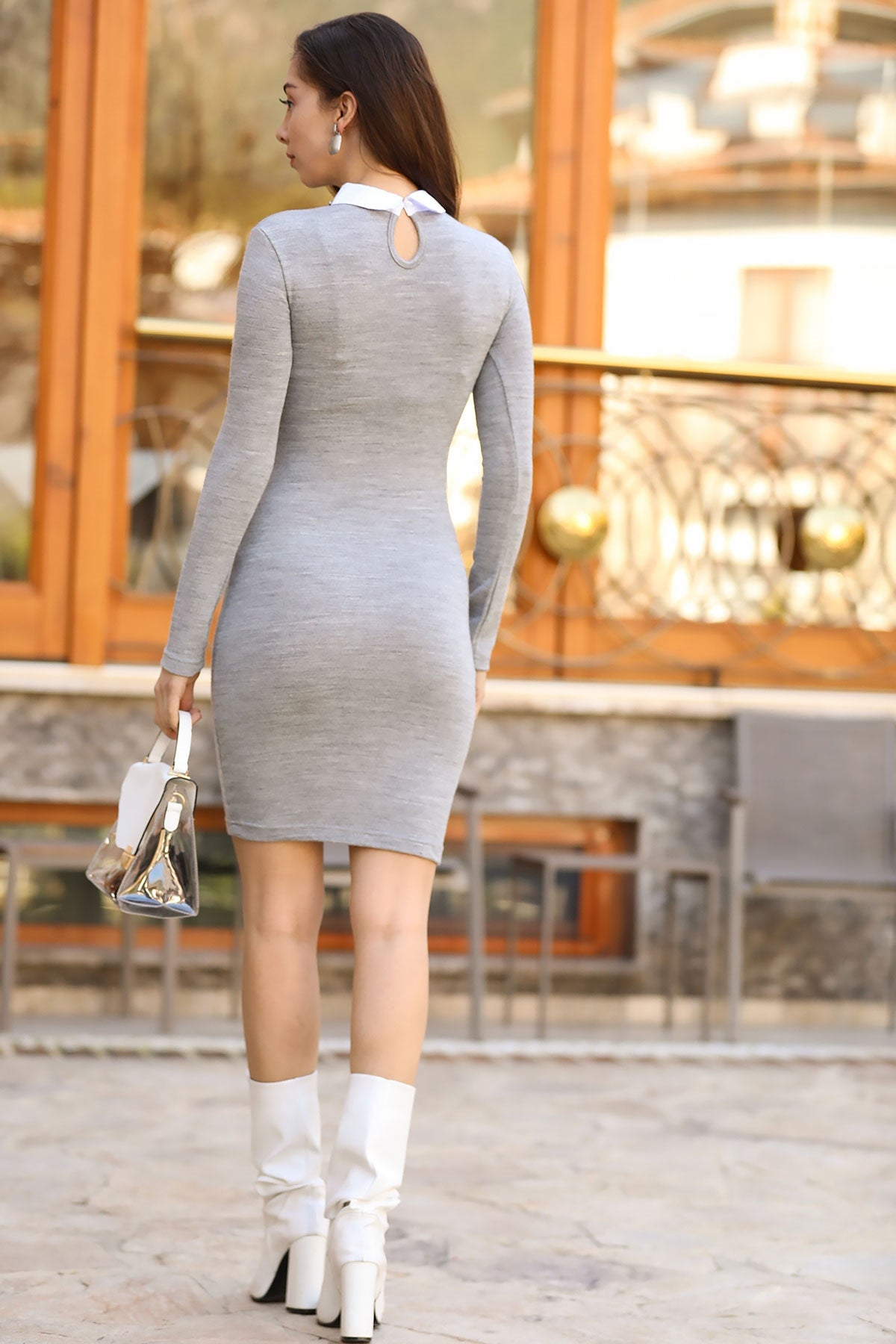 Women's Short Pearled Grey Dress