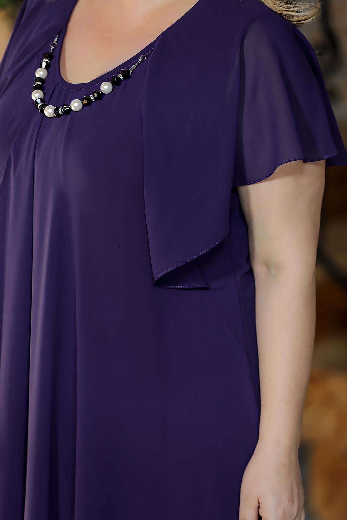 Oversize Collar Accessory Detail Purple Dress