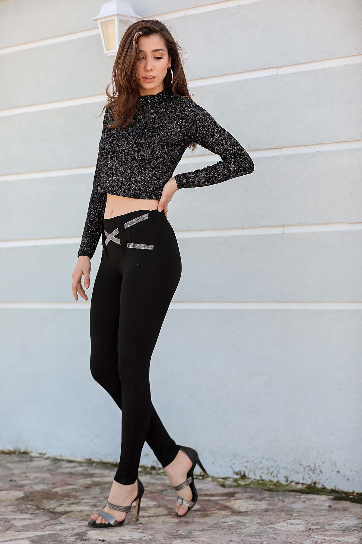 Women's Belted Black Tights