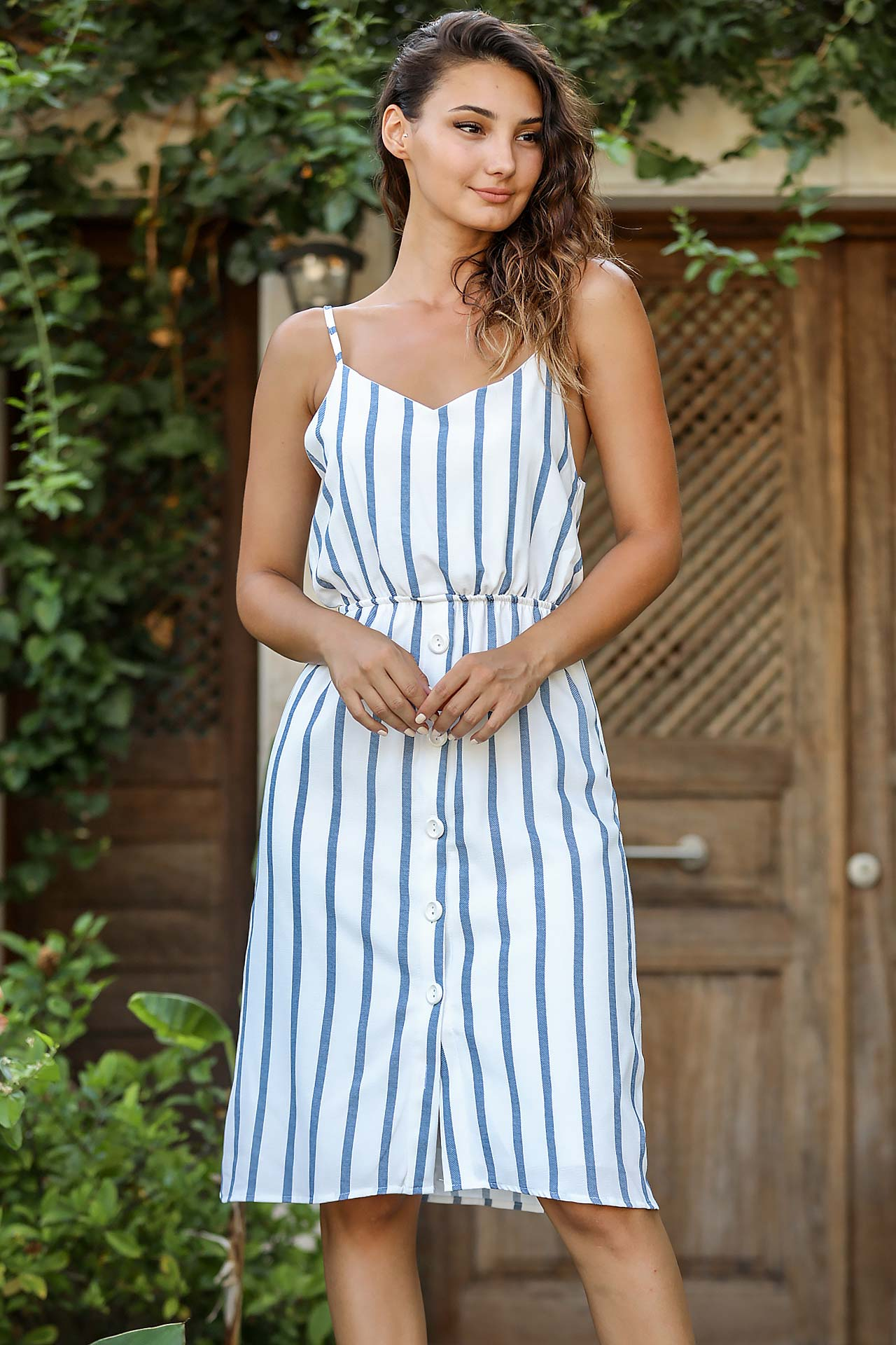 Thin Strappy Patterned Dress