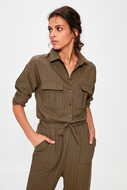 Women's Belted Khaki Overall