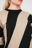 Women's Color Block Camel Tricot Sweater