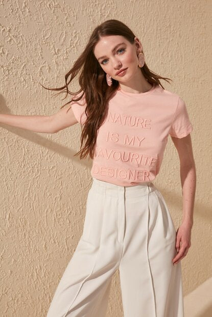 Women's Printed Basic Pink T-shirt