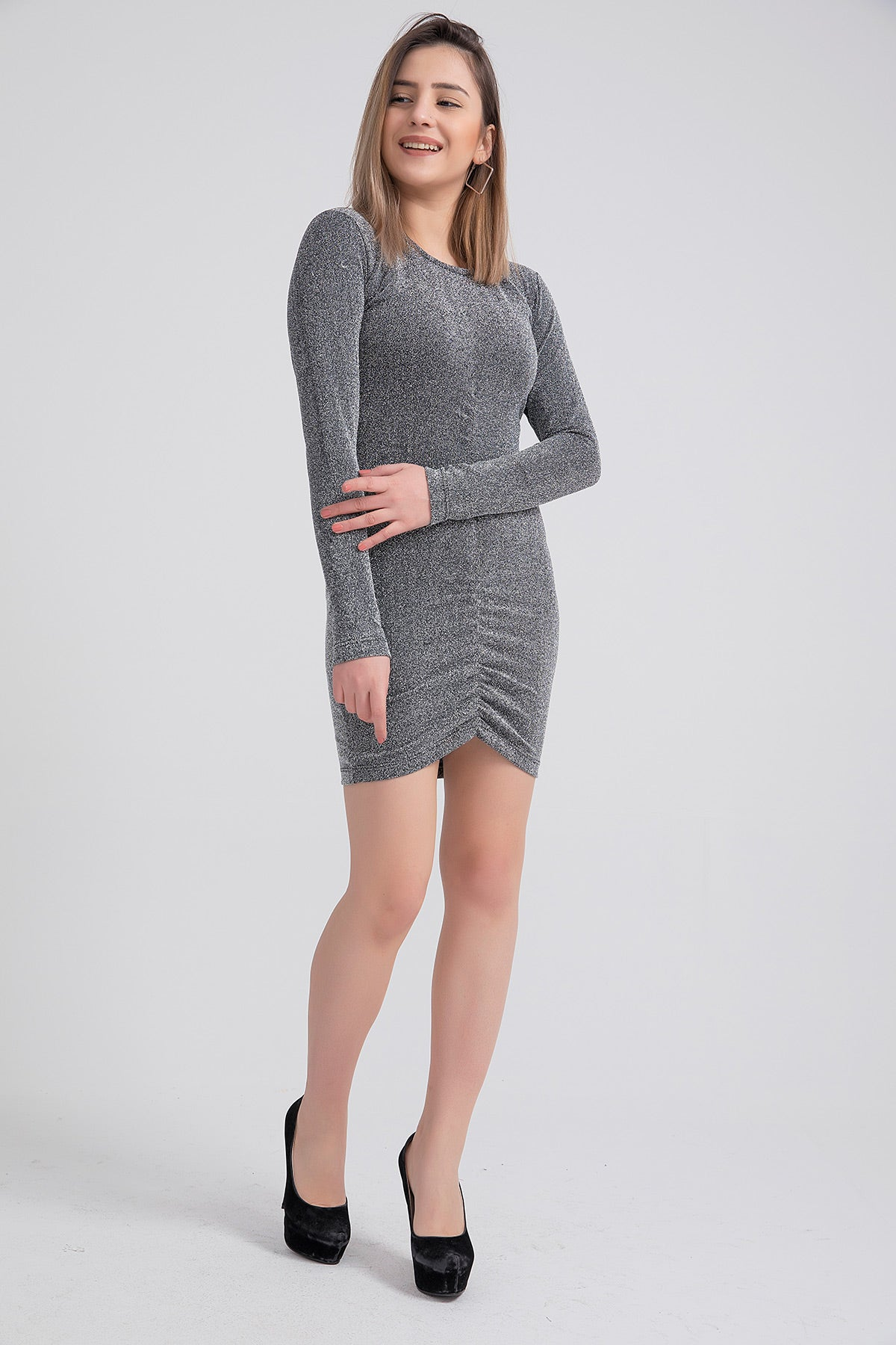 Women's Crew Neck Front Shirred Silver Short Dress
