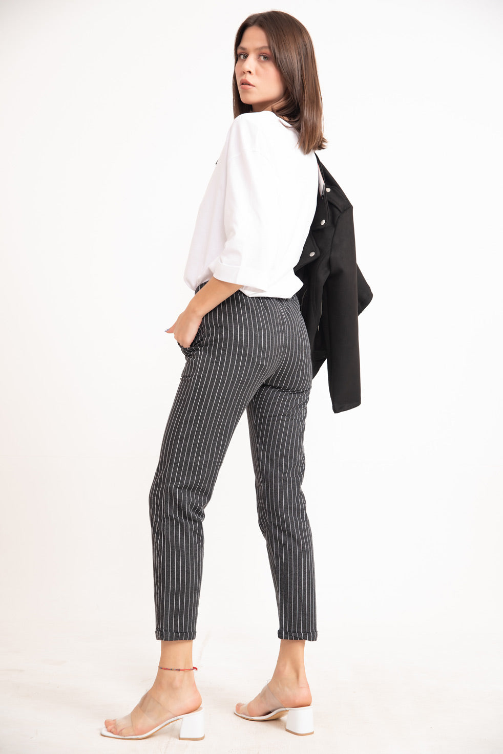 Women's Tie Waist Striped Black Carrot Pants