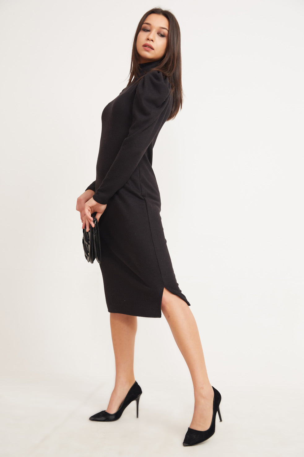 Women's Mock-Turtleneck Black Midi Dress