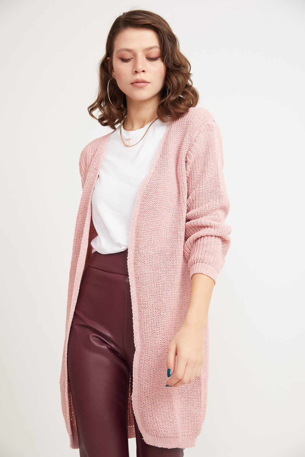 Women's Basic Powder Rose Cardigan