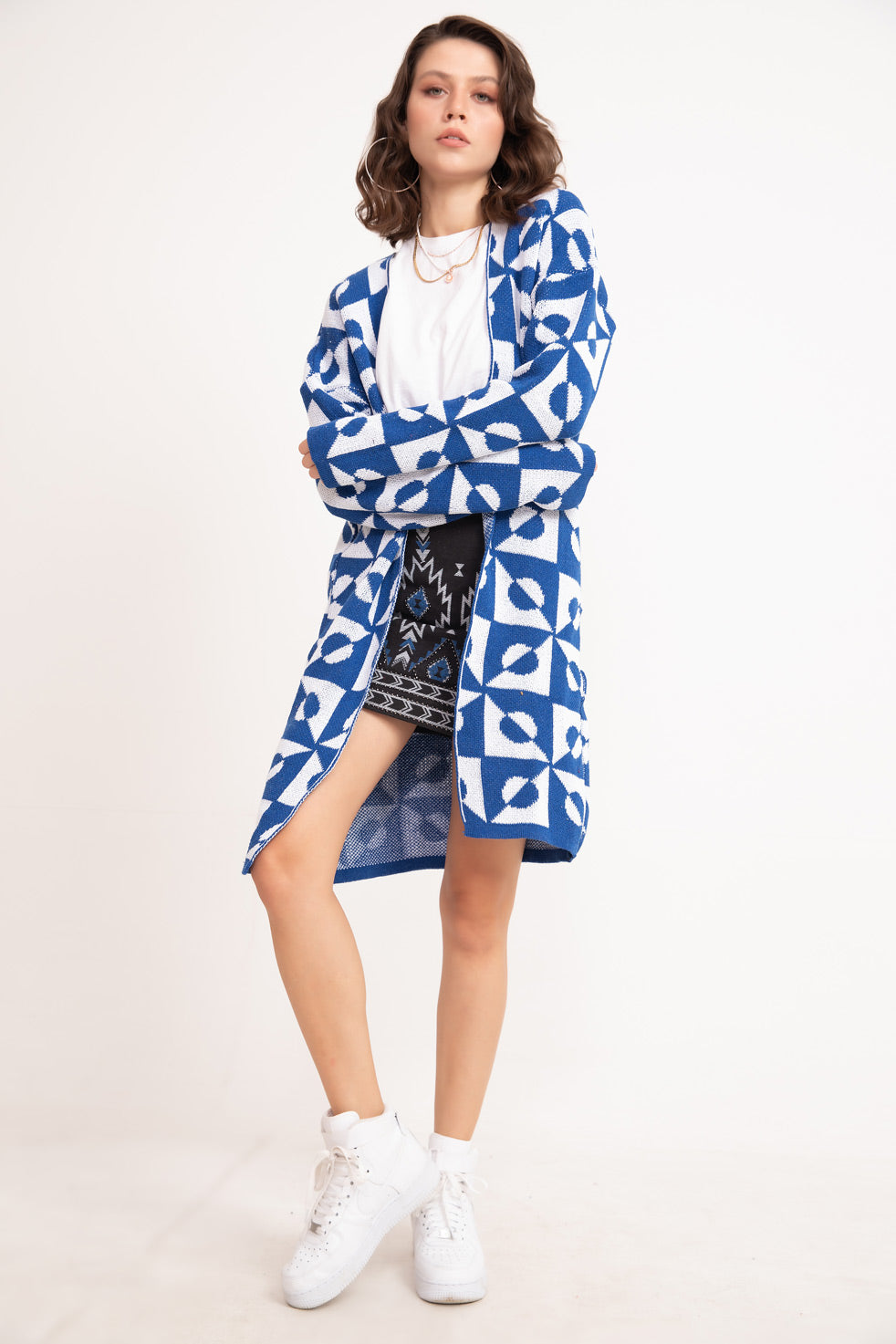 Women's Patterned Blue Cardigan