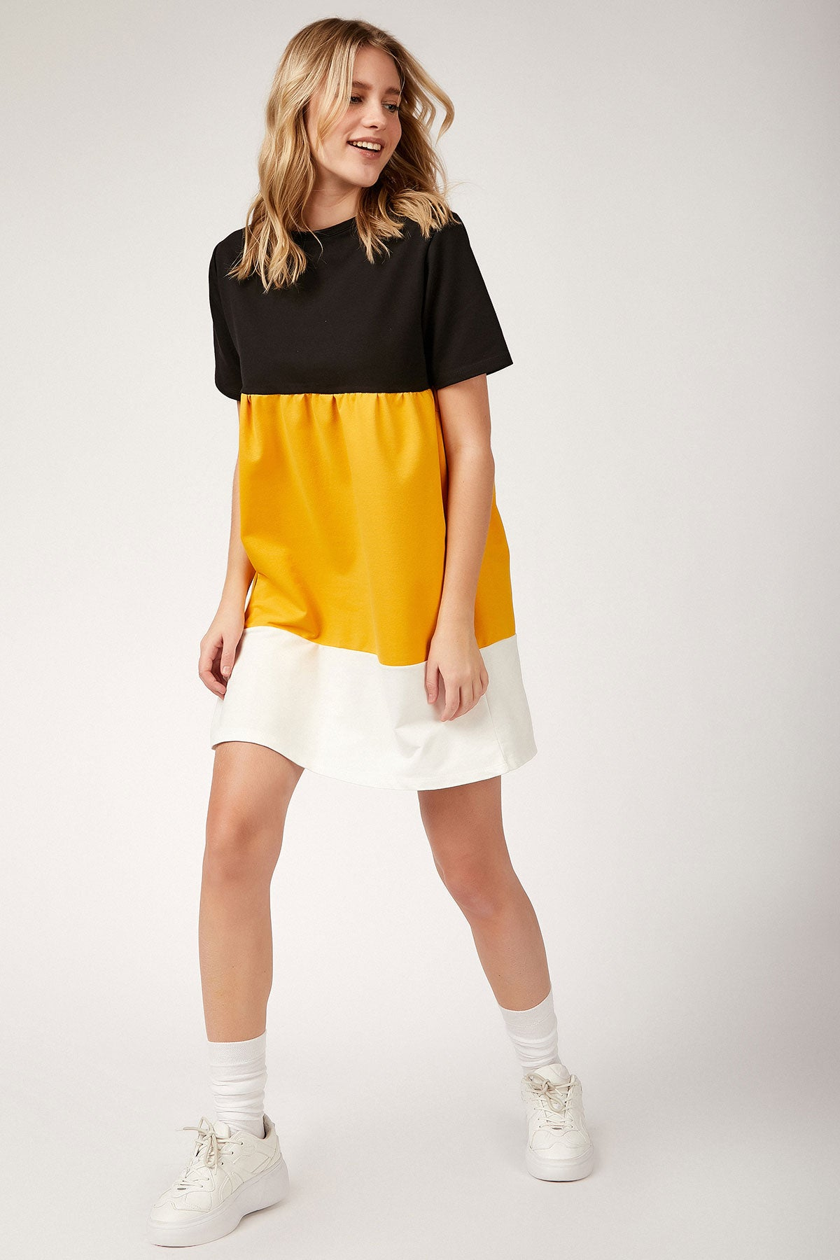 Women's Shirred Color Block Tunic