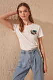 Women's Embroidered White T-shirt