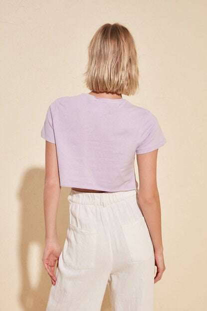 Women's Printed Lilac Crop T-shirt