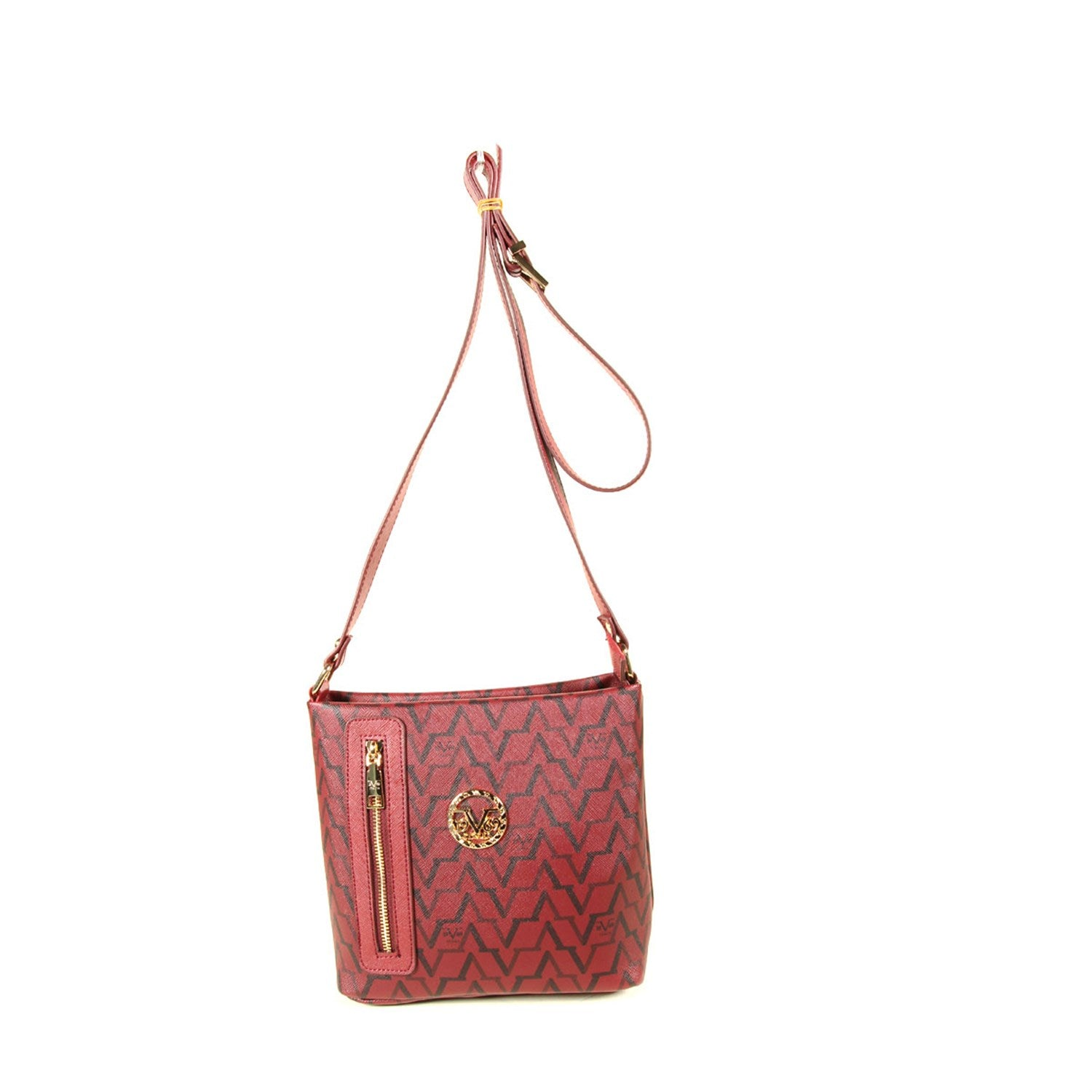 Women's Patterned Claret Red Crossbody Bag