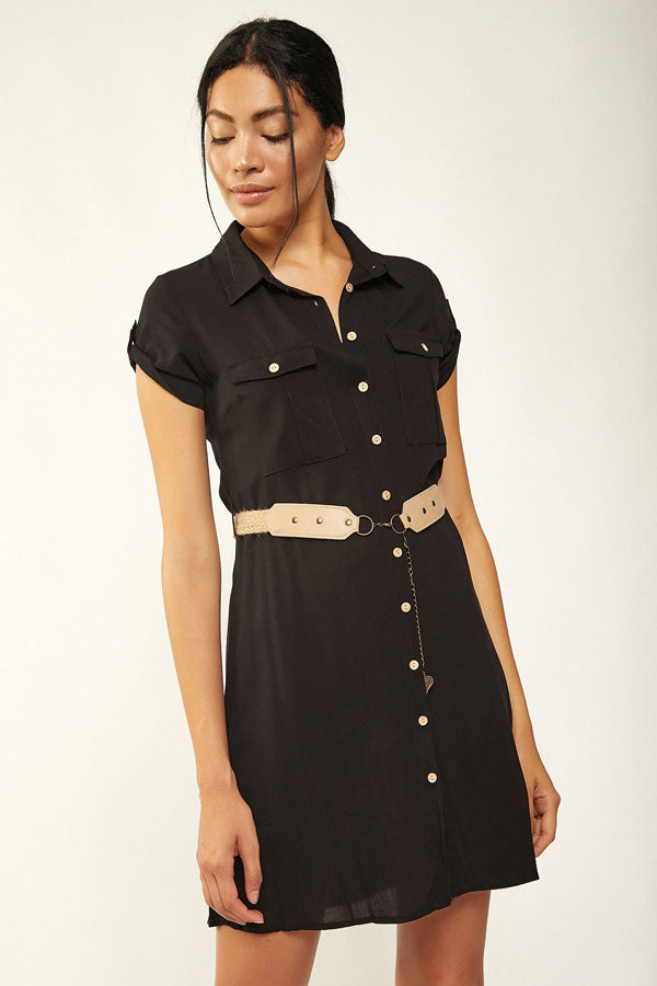 Women's Belted Double Pocket Tunic